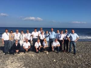 Zurück in Europa: Abschlussfoto auf Santorino, Griechenland